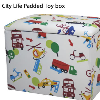 City Life Padded Childs Toy Box