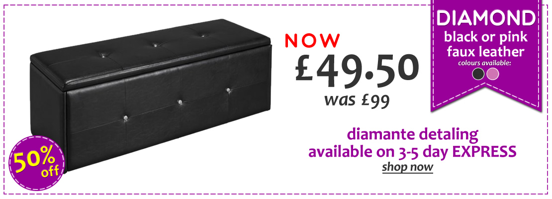 HOMEPAGE - Diamond Faux Leather Ottomans - 50% Off