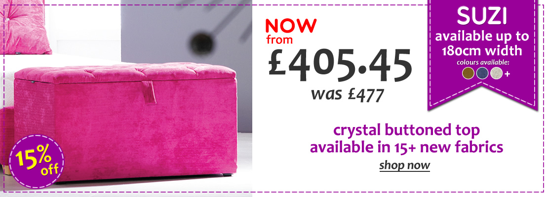 HOMEPAGE - Suzi Crystal Buttoned Top Upholstered Ottoman - 15% OFF