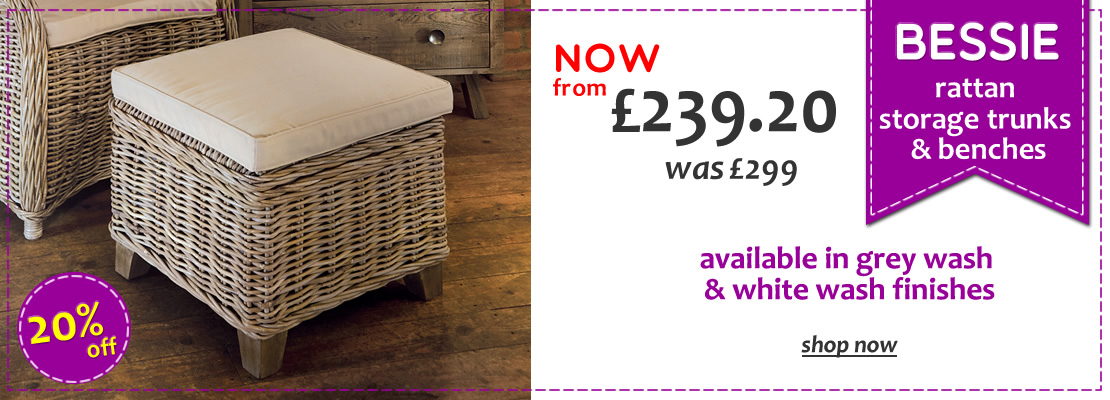 HOMEPAGE - Bessie Rattan Benches - 20% Off