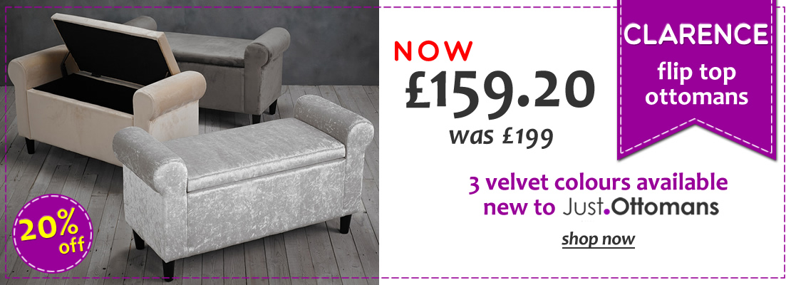 HOMEPAGE - Clarence Velvet Flip Top Ottomans - 20% Off