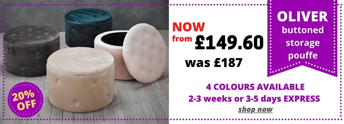 HOMEPAGE - Oliver Buttoned Pouffe - 10% Off