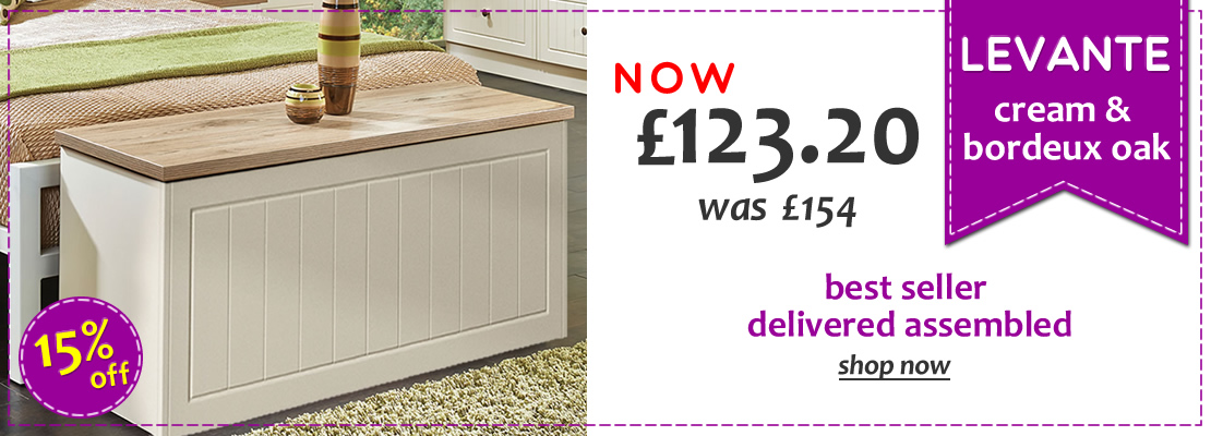 HOMEPAGE - Levante Cream & Oak Blanket Box - 15% Off