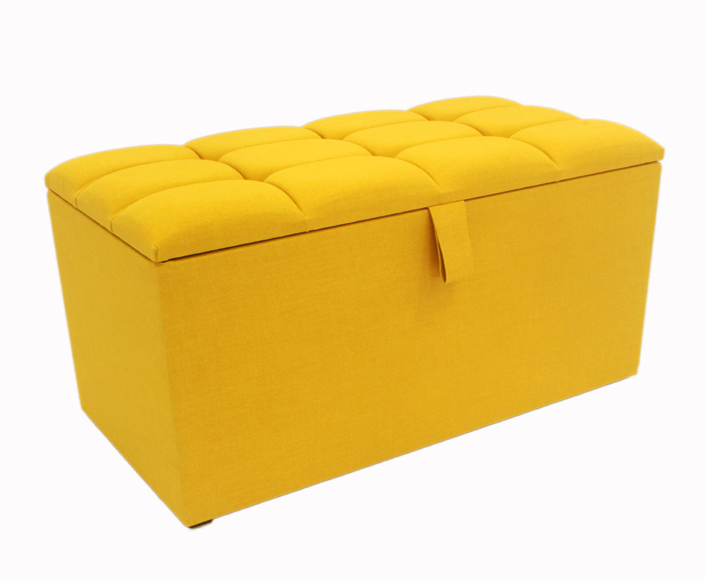 Chests Turino 90cm Mustard Buttoned Top Upholstered Ottoman *Special Offer*