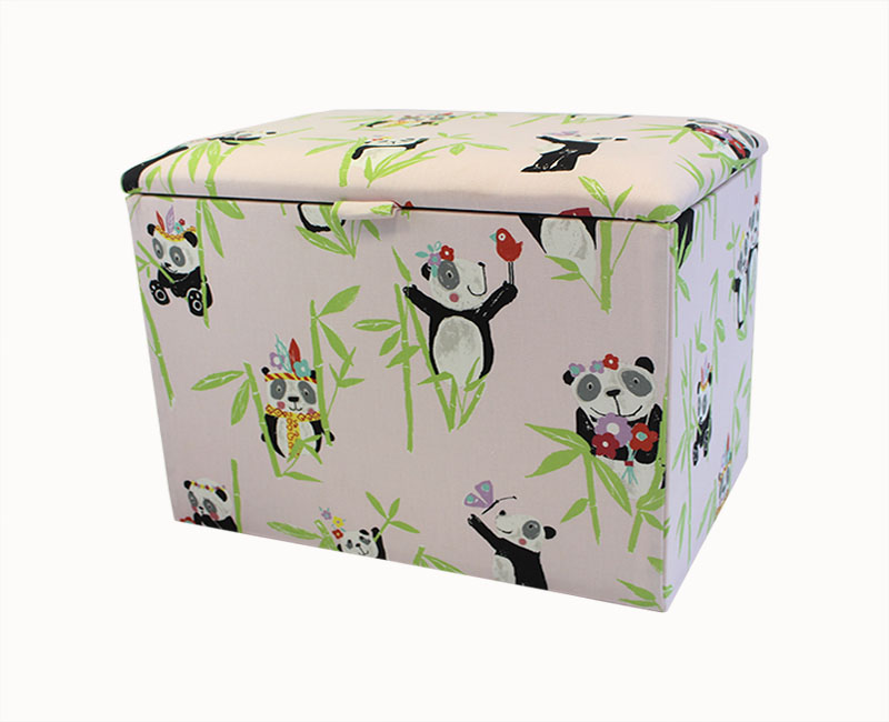 justottomans.co.uk Panda Small Pink Upholstered Toy Box *Special Offer* small toy box panda pretty pink panda fabric