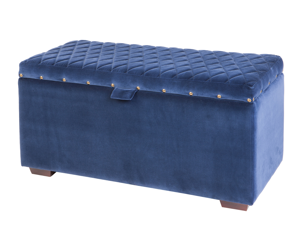 Chests Andes Soft Touch Velvet Upholstered Ottoman medium ottoman mystere ink