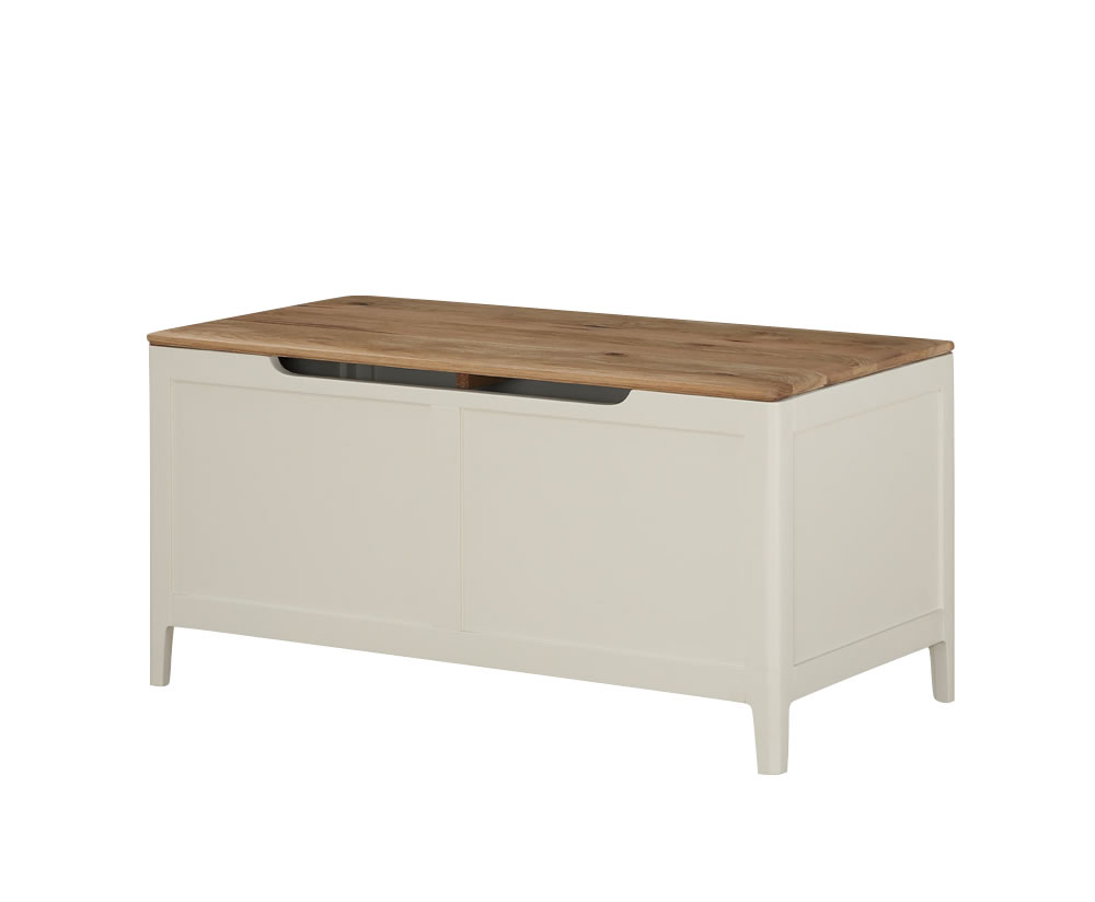 justottomans.co.uk Dunmore Spanish White and Oak Blanket Box