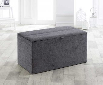 Rosario Silver Upholstered Blanket Box