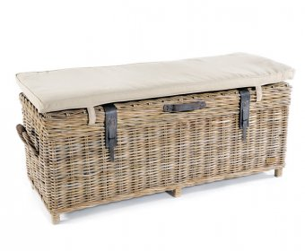 Bessie Grey Wash Rattan Storage Bench