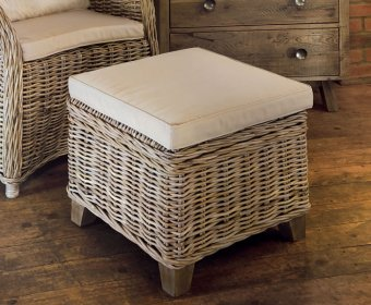 Bessie Grey Wash Rattan Storage Stool