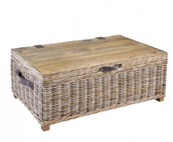 Bessie Grey Wash Rattan Storage Trunk