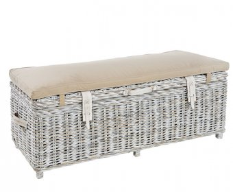 Bessie White Wash Rattan Storage Bench
