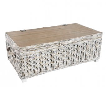 Bessie White Wash Rattan Storage Trunk