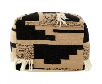 Binsel Wool and Cotton Brown Pouffe