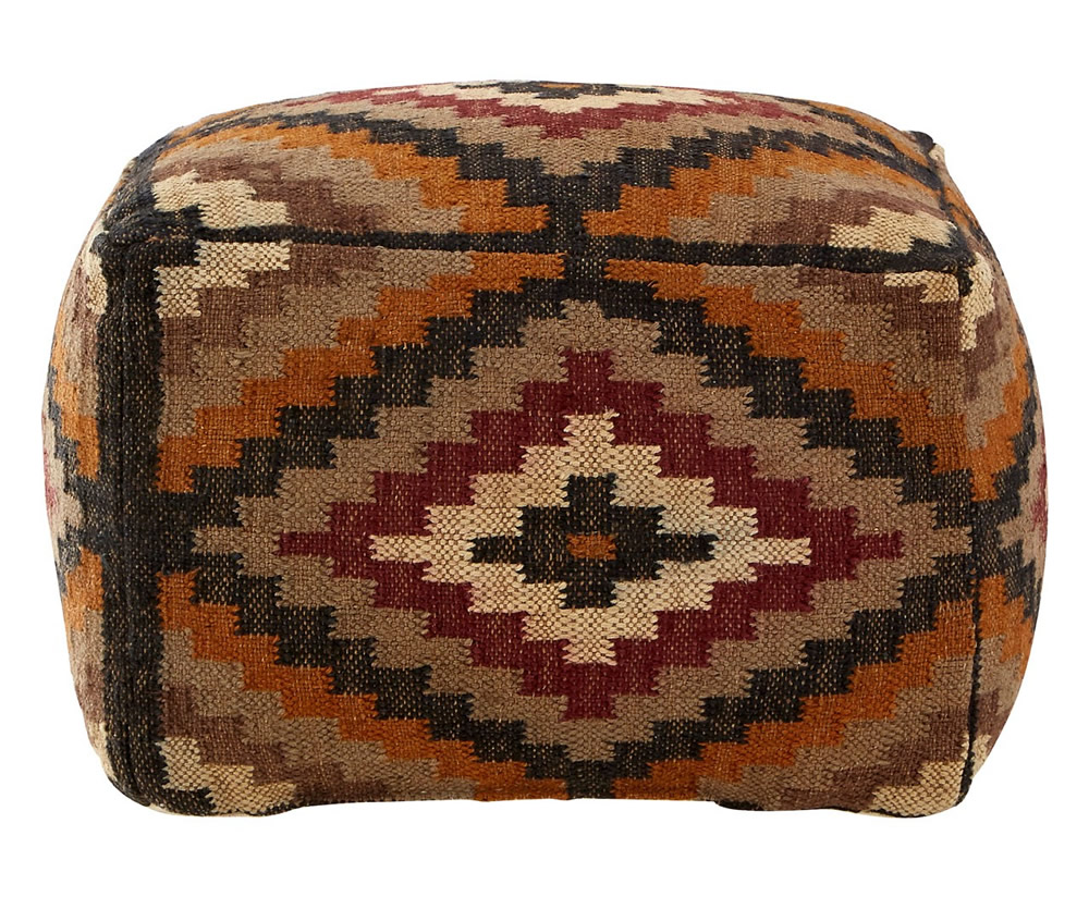 Chests Binsel Multi-Coloured Jute and Cotton Pouffe