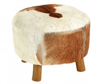 Bekan White and Brown Goat Hide Round Stool