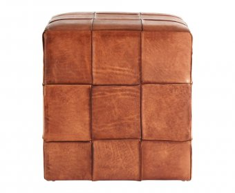 Bekan Square Genuine Brown Leather stool
