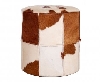 Lebbak Brown and White Cowhide Stool