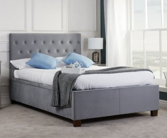 Ludwig Grey Upholstered Ottoman Bed