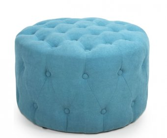 Giulietta Turquoise Upholstered Buttoned Pouffe