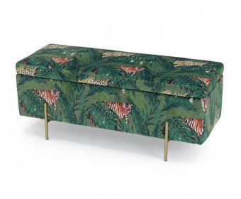 Bermondsey Jungle Print Upholstered Ottoman