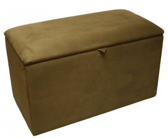 Alexandria Faux Leather and Suede Ottoman