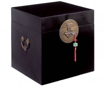 Ming Black Square Blanket Storage Trunk