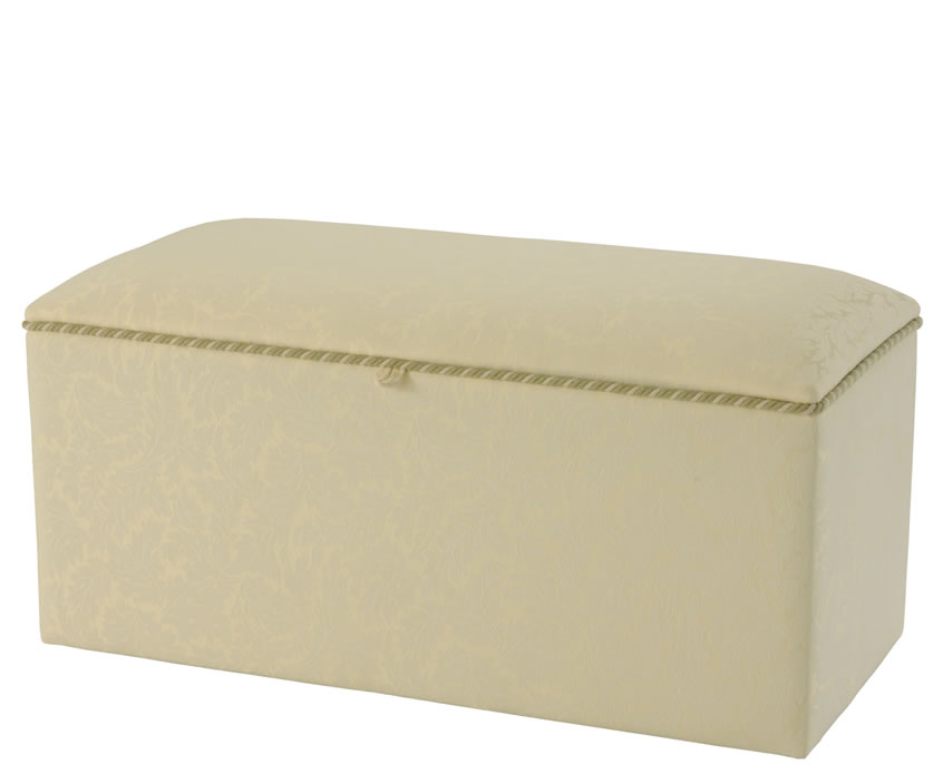 Plain Top Large Faux Leather And Suede Ottoman