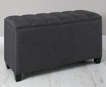 Burgundy Faux Leather and Suede Ottoman