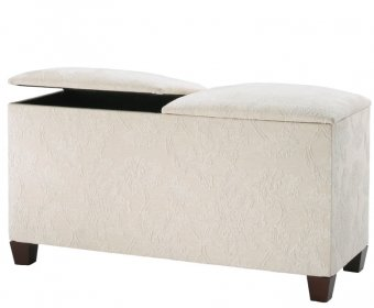Normandy Faux Leather and Suede Twin Lid Ottoman
