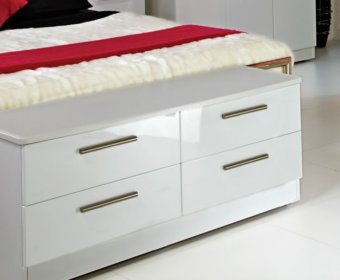 Queen White High Gloss Bed Box