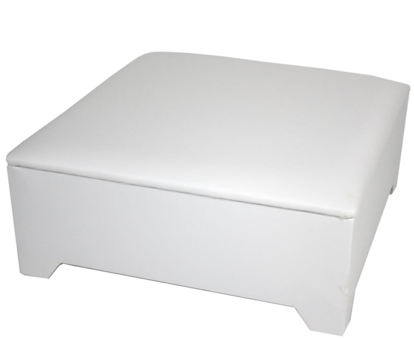 Chests Hunter Large Faux Leather and Suede Ottoman faux leather white
