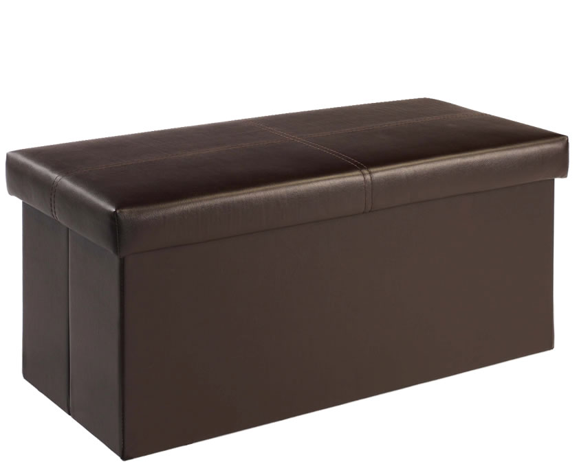 Bellville Large Brown Faux Leather Ottoman Just Ottomans