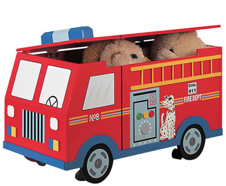 justottomans.co.uk Fire Engine Kids Toy Box