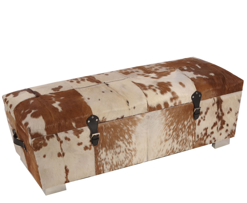 Bette Brown Natural Cowhide Storage Ottoman