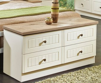 Levante Cream and Bordeaux Oak 4 Drawer Bed Box Chest