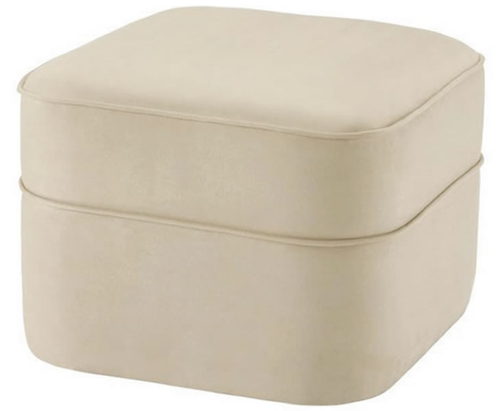 justottomans.co.uk Canterbury Upholstered Pouffe faux suede cream