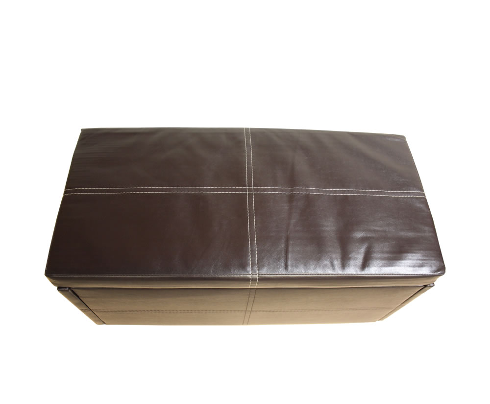 Toni Small Brown Faux Leather Ottoman *Special Offer
