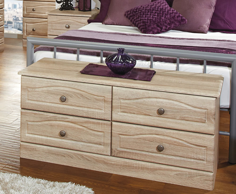 Pierre bardolino wooden 4 drawer bed box just ottomans for Wooden attic box bed