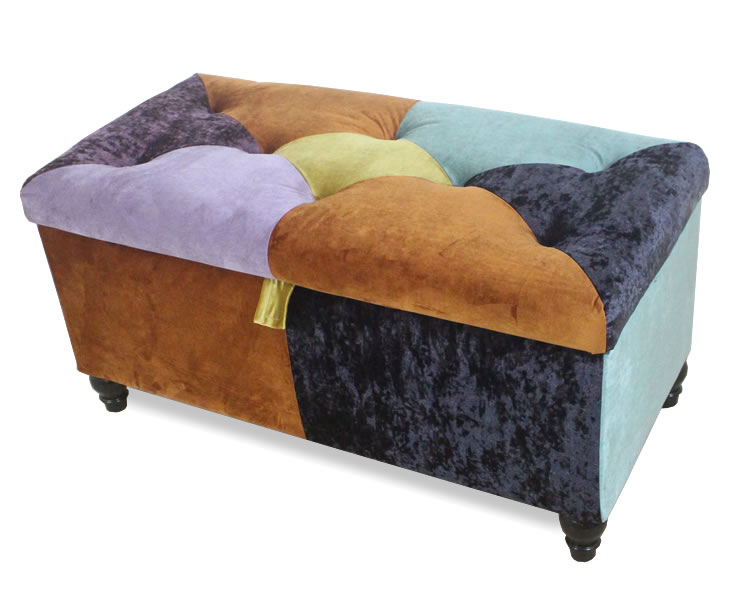 justottomans.co.uk Dahlia Patchwork Velvet Ottoman wenge turned legs