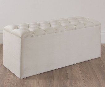 Quilted Upholstered Ottoman