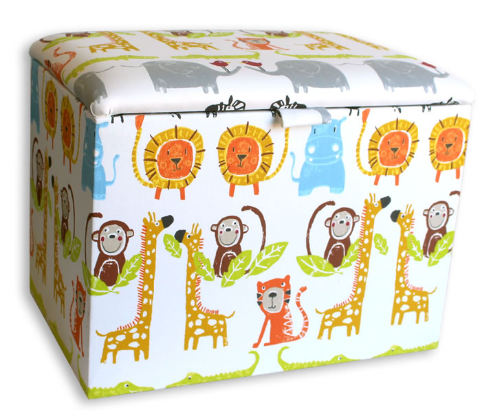 Chests Jungle Upholstered Toy Box small toy box paintbox jungle fabric